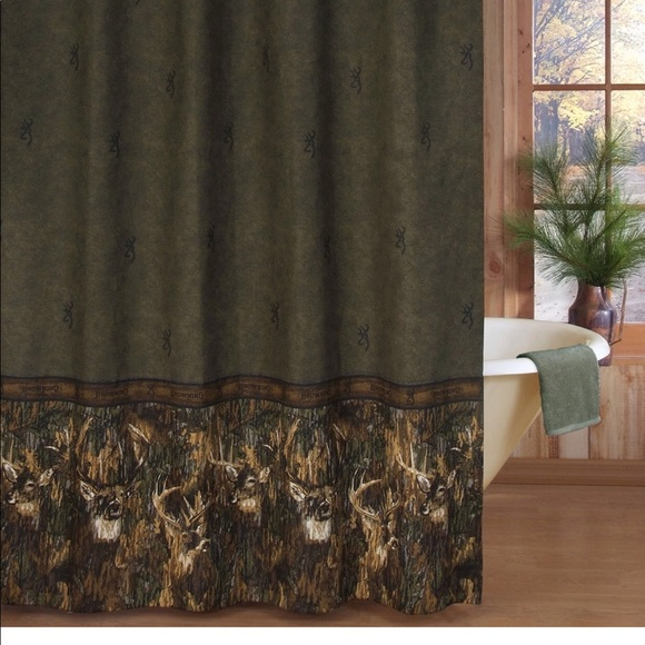 Browning Whitetail Deer Fabric Shower Curtain New